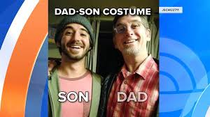 dad and son dress as each other for halloween in mind blowing swap