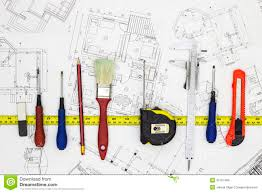 home renovation plans and tools stock photo image 45151485