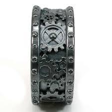 gear wedding ring steunk black silver gear ring steam wedding ring