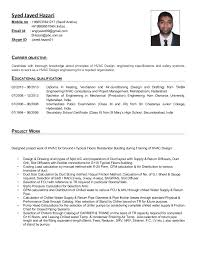 Resume Format For Design Engineer In Mechanical Syed Javed Hazari Hvac Design Engineer