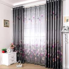 Patterned Window Curtains Black Color Floral Patterned Polyester Living Room Curtains
