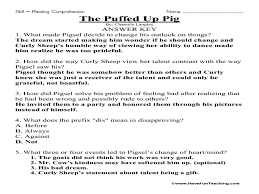 the puffed up pig reading comprehension 3rd 5th grade worksheet