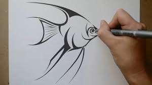 how to draw an angelfish tribal design style