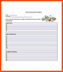 potluck signup sheet template word program format