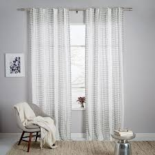 Purple And Cream Striped Curtains Striped Ikat Curtain Platinum West Elm