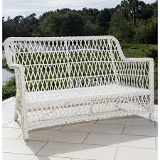 Wicker Settee Replacement Cushions by Everglades White Resin Wicker Patio Loveseat By Lakeview Outdoor