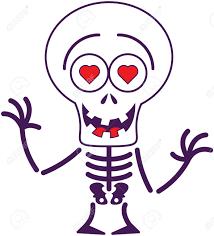 Halloween Skeleton Clip Art Funny Skeleton With Big Head Red Heart Eyes And Missing Teeth