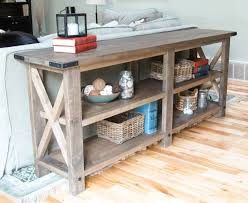 Table With Shelves Living Room Ana White Rustic X Console Diy Projects Sofa Table
