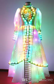2017 fluorescence wedding dresses led light skirt led stage
