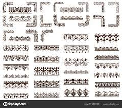 art deco design elements of vintage ornaments and borders corners