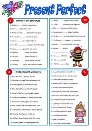 146 free esl present perfect simple tense worksheets