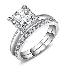 bridal engagement rings images Castillna sterling silver princess cut cubic zirconia wedding jpg