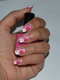pink and white polka dot nails tutorial and notd crazy about colors