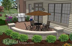 Patio Designs With Concrete Pavers The Small Concrete Paver Patio Design With Seat Wall Is A