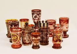bicchieri boemia tredici bicchieri sec xix in cristallo rosso di boemia inciso