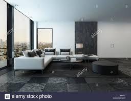 spacius 3d rendering of spacious minimalist living room with dark stone