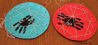 Childrens Halloween Craft Ideas - halloween kids craft handprint spiders in a diy lacing card web