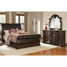 Sleigh Bedroom Furniture Monticello 5 King Upholstered Sleigh Bedroom Set Pecan