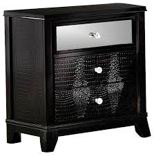 Mirrored Dressers And Nightstands Jacqueline Mirrored Drawer Front Nightstand Black Faux Alligator