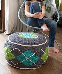 Crochet Ottoman Argyle Bean Bag Ottoman