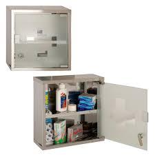 glass door medicine cabinet wall mounted lockable 2 keys medicine cabinet cupboard first aid box