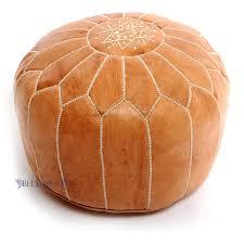 amazon com stuffed moroccan tan leather pouf handmade pouffe