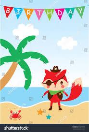 cute fox pirate happy birthday card stock vector 318613976