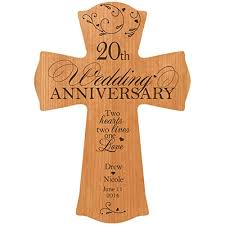 20 year anniversary gifts for personalized 20th wedding anniversary wood wall cross gift for