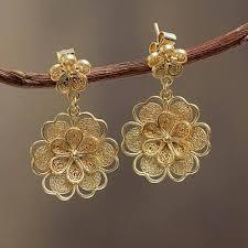 gold plated earrings gold plated filigree handmade flower dangle earrings yellow
