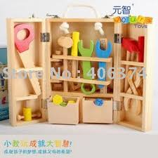 freeshipping wooden tool toy box with bench hammer nuts pegs bolts