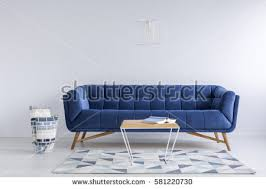 Living Room With Blue Sofa Room Blue Sofa Bench Metal Wood Stock Photo 573390727 Shutterstock