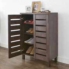 slatted 2 door shoe storage cabinet mahogany effect hallway