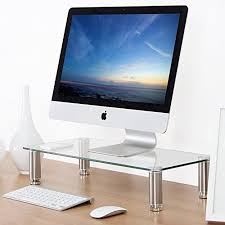 Glass Desk With Storage Fitueyes Computer Monitor Riser Desktop Stand With Storage Space