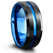mens blue wedding bands mens tungsten wedding band with carved blue channel northernroyal