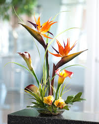 silk flower arrangements tropical bird of paradise calla lily silk flower centerpiece at