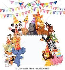 safari cartoon vector illustration of safari animals cartoon wearing party