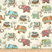 timeless treasures embellished elephants cream from fabricdotcom
