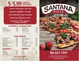 santana pizza u0026 subs menu menu for santana pizza u0026 subs palm