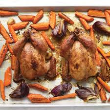 maple glazed cornish hens with carrots