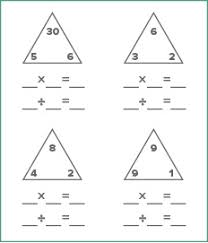 math fact families multiplication division maths worksheet generator education