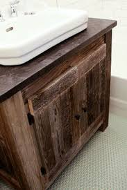 Rustic Bathroom Vanity by Heritage Collection Barn Wood Vanity With Copper Sinks Home