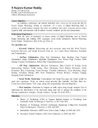 Digital Media Resume Examples by Rajeev Digital Marketing Resume