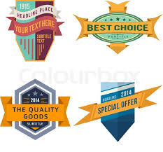 logo ribbon set of various vector design retro color logo ribbon labels and