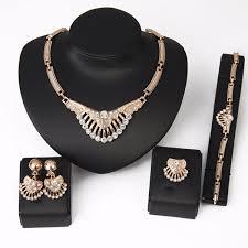 rhinestone necklace earrings images Crystal rhinestone necklace earrings bracelet ring jewelry set jpg