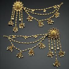 jhumka earrings uk bahubali diamante chain jhumka earrings set gold indian