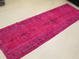Overdyed Runner Rug Fuschia Pink Overdyed Runner Rug Vintage Handmade Overdyed Oushak