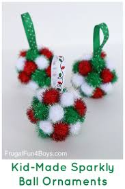 sparkly pom pom ball christmas ornaments for kids to make for