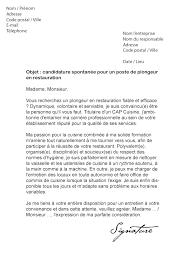 lettre de motivation de cuisine lettre de motivation plongeur en restauration modèle de lettre