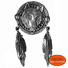 wolf and indian feathers biker pin amt custom shop