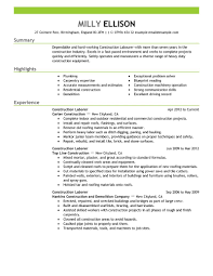 Construction Worker Sample Resume by General Laborer Resume Template